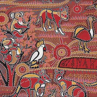Australian Aboriginal Dreamtime Koala Dingo Emu Quilt Fabric FQ or The Metre NEW