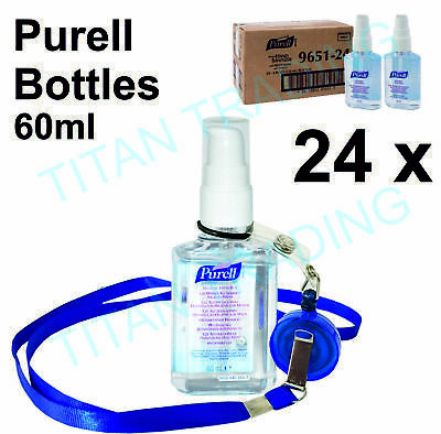 24 x bottle Purell Personal Hand Gel Sanitizer 60ml Travel Handbag Pocket NHS