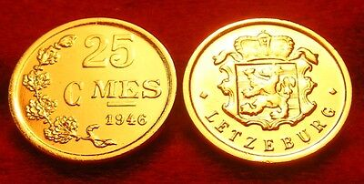 Or/gold  Pl  25 Cmes Letzeburg/luxembourg 1946   Tres  Rare