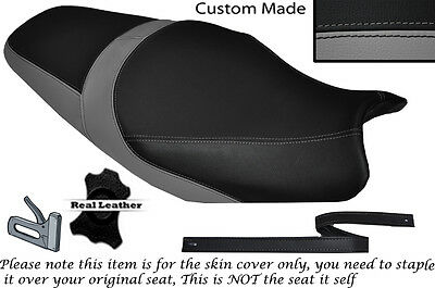 BLACK AND GREY CUSTOM FITS KAWASAKI ZZR 1100 D 93-02 LEATHER SEAT COVER