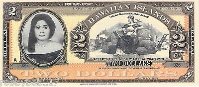 HAWAII 2 Dollars Banknote Paper Currency Money FUN/ART NOTE BILL Queen NOT REAL