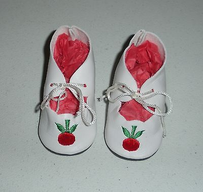 Fits 18 Inch Tiny Tears Doll.....White Cherry Doll Shoes....Item No. 18-20