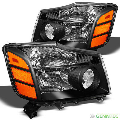 For 04-14 Titan, 04-07 Armada Black Replacement Headlights Front Lamps L+R