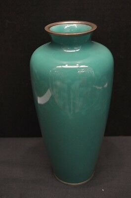 Antique Ando Japanese Wireless Teal Cloisonne Vase
