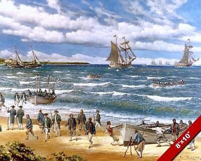 Us Revolutionary War Battle Of Nassau Oil Painting Art Real Canvas Giclee Print