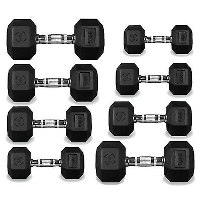 Hexagonal Rubber Encased Dumbbell Weights for Gym Fitness Weight Training Sets