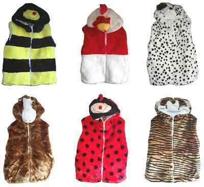 Childrens Kids Hooded Body Warmer Fleece Gilet Animals Tiger Dog Rooster Horse