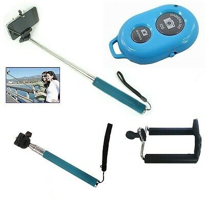 Extendable Handheld Selfie Monopod Holder w/ Bluetooth Remote Control Blue