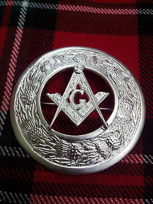 T C Kilt Fly Plaid Brooch Masonic Crest Thistle Border Silver Plated/Brooches
