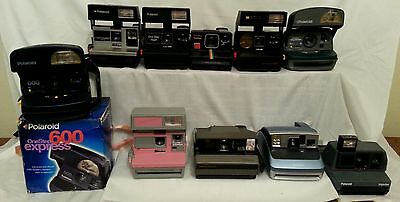Vintage Polaroid One Step 10 Camera Lot Spectra SX70 Business Pink Cool Cam