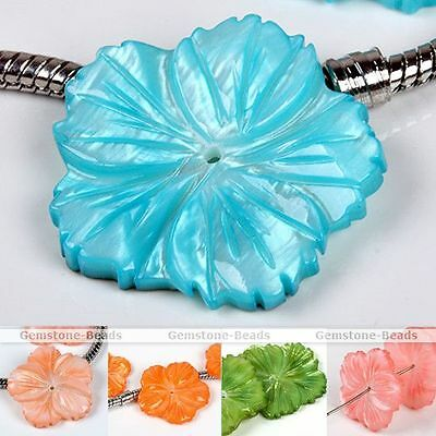2X Nature Freshwater Mother Of Pearl MOP Shell Carved Flower Loose Pendant Bead