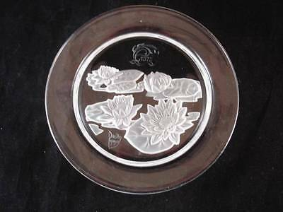 1979 DAUM CRYSTAL PLATE-NYMPHEA WATER LILLY-ART NOUVEAU DESIGN