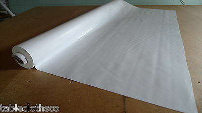 PLAIN WHITE WIPEABLE VINYL OILCLOTH PVC WIPE CLEAN TABLECLOTH CO click for sizes