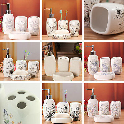 Ceramic Bathroom Set of 4 MIXED DESIGN Soap, Lotion, Toothbrush Cup Holder
