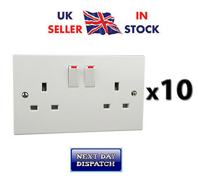 10x Double Twin 2 Gang Sockets  13amp  White Switched Wall Sockets