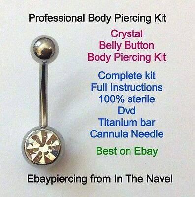 Body piercing kit. belly button, CLEAR CRYSTAL. Professional sterile kit.