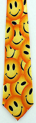 NEW! Lots of Yellow Smiley Smily Happy Faces Funny Novelty Necktie  922