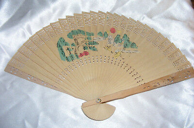 Vintage Wooden Japan Hand fan In Box Glass Top