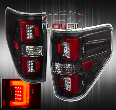 For 09 10 11 12 13 14 Ford F150 Black Red C-Led Tail Lights Lamps Left+Right Set