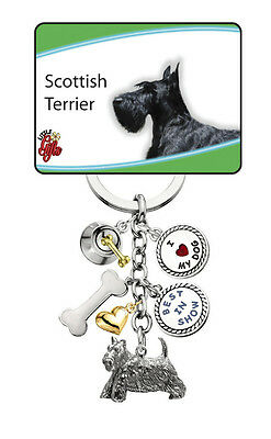 SCOTTISH TERRIER I Love My DOG Key Chain Little Gifts Key Ring with 6 Charms NWT