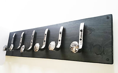 "6 Brushed Steel Hooks Railroad Spike ""Black Ebony"" Vtg Antique Coat Rack Hanger"