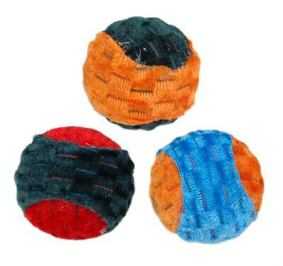 KITTY CLOTH BALLS - Lots 2/5/10 Two-Tone Textured Fabric Rattles Kitten Cat Toys