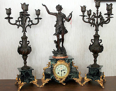 Antique-French-Mantel-Shelf-Clock-18550 th-century with Candlesticks -DAPHNIS