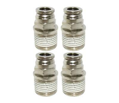"Numatics 3/8"" OD Airline X 1/2"" NPT Brass/Nickel Straight Male Fittings - 4 Pack"