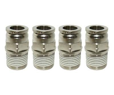 "Numatics 1/4"" OD Airline X 1/4"" NPT Brass/Nickel Straight Male Fittings - 4 Pack"