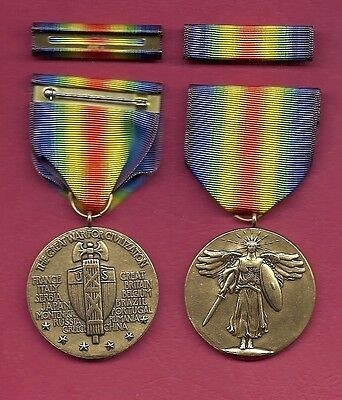 WWI Victory Military Award medal with ribbon bar World War I medal