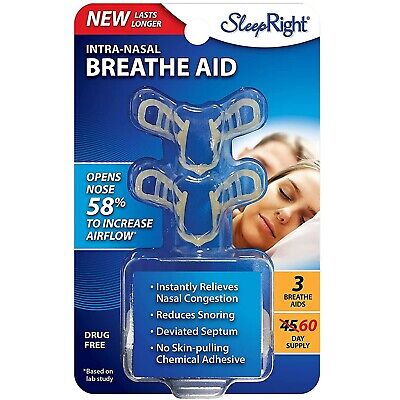 SleepRight Nasal Breathing Aid (2 Count) Reduce Snoring Congestion - Sleep Right