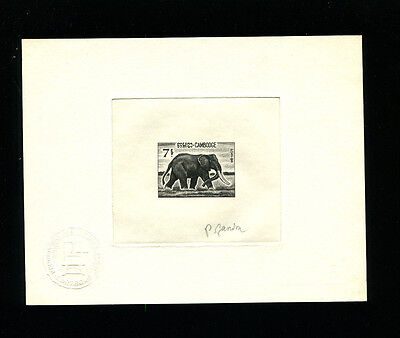 Cambodia 1967 Fauna Elephants Scott 171 Signed Sunken Die Artist Proof