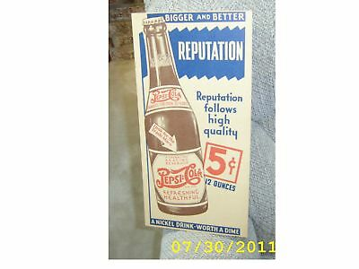 Pepsi cola  BIGGER - BETTER 5c BOTTLE SIGN