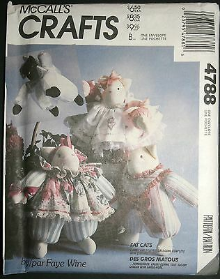 McCall's Crafts Country Fat Cats with Fabric Dresses Stuffed Animal Pattern NEW!