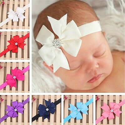 Newborn Baby Girls Headband Infant Toddler Bow Hair Band Accessories Photo HG