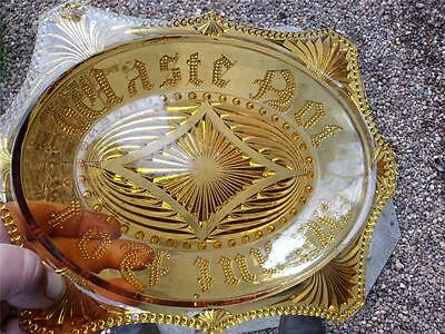 Vintage old amber glass War Time? Waste not Want not embossed glass dish