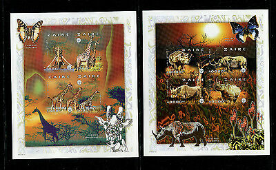 Zaire 1997 Fauna Wildlife Scott 1477-9  Complete Set of 3 Imperf Sheetlets of 4
