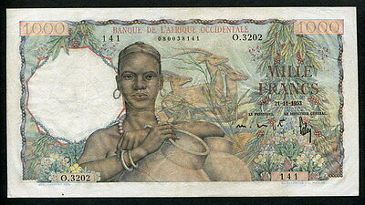 French West Africa 1953, 1000Francs, P42, VF