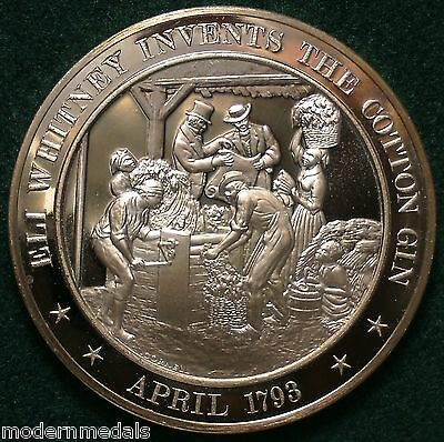 ELI WHITNEY INVENTS THE COTTON GIN 1793  FRANKLIN MINT BRONZE MEDAL
