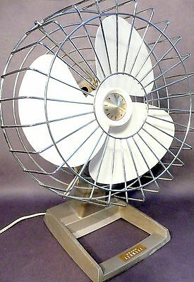 "mid century modern KENMORE 9"" PLASTIC BLADE - 3 SPEED OSCILLATING FAN -working"