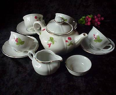 VTG. KAHLA Childs 12 pc. Tea Set Red Flowers & Berries Germany + Bonus Flatware