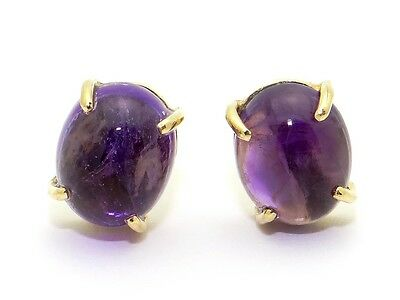 14k Yellow Gold Oval Cabochon 6ct Amethyst Button Stud Earrings
