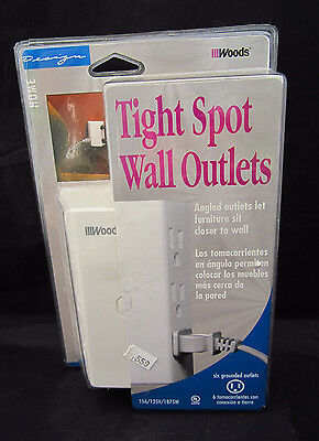 Woods Tight Spot Wall Outlet 6 Grounded Outlets Angled for Close Furniture NIMSP