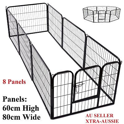 60cm 8 Panel Pet Dog Playpen Puppy Exercise Fence Enclosure Cage Cat Play Pen XL