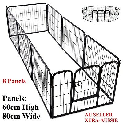 80cm 8 Panel Pet Dog Playpen Puppy Exercise Fence Enclosure Cage Cat Play Pen XL