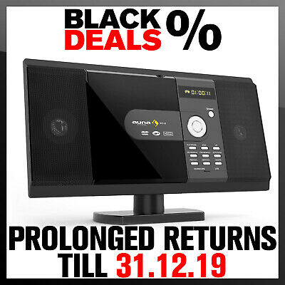 Compact CD DVD Player Stereo System Media Radio FM Home Audio Wall Mount Black