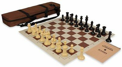 NEW Professional Tournament Chess Set Package in Black & Camel - Brown