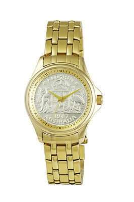 Mens Lifestyle Australian Florin CoinWatch - Florin coin dial and Gold tone band