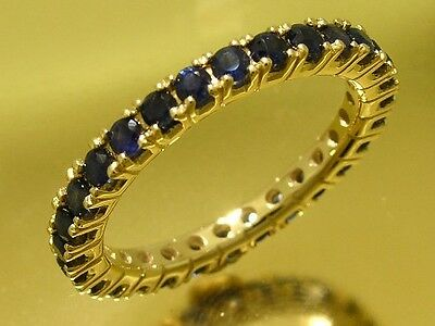 R122- Genuine 9ct SOLID Gold NATURAL Sapphire FULL Eternity Ring Band size M