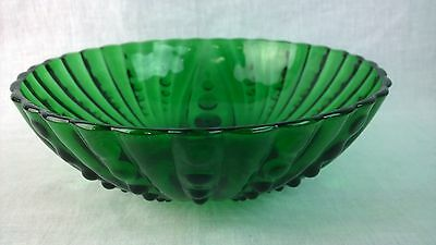 Vintage Green Anchor Hocking Oyster & Pearl Bubble Depression Glass Bowl